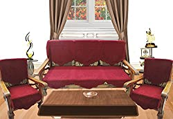 Royalina Maroon Embossed 5 Seater Net Sofa Cover Set -10 Pieces