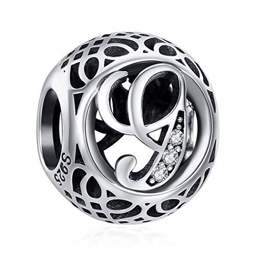 G Geburtsstein Charm Bead für Damen 925 Sterling Silber, zum Geburtstag, 12 Farben, Jan - Dez, Pandora Anhänger für Armband und Halskette 26 Buchstaben DIY Serie