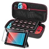 Nintendo Switch Tasche Rymall Verbesserte Version Harte Reise Hülle Case mit größerem, Joy-Con und anderes Nintendo Switch Zubehör, Speicherplatz für 19 Spiele + 1 Stück Displayschutzfolien