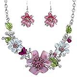 aiuin 1x Reihe von Schmuck einfache Form der Blume Strass Halskette/Anhänger hängen Dekor Mode-Schmuck