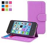 Snugg Coque iPhone 4, Apple iPhone 4 Etui à Rabat [Emplacements pour Cartes] Cuir Portefeuille Housse Désign Exécutif [Garantie à Vie] - Violet, Legacy Range