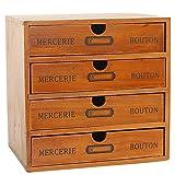 Baffect Desktop Scatola di immagazzinaggio con cassetti in Legno 4 Piani Vintage cassettiera al Tavolo portagioie Scatola di Legno con cassetto Organizer Tavolo in Legno comò per Magazzino, 4 Piani