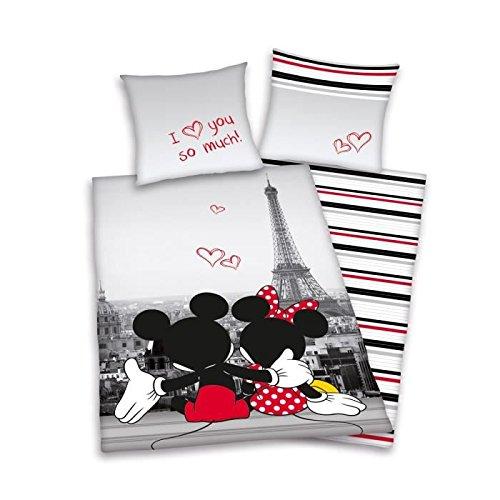 Juego de cama infantil, diseño de Mickey y Minnie Paris a 100% algodón, funda nórdica de 140 x 200 cm, 1 funda de almohada de 65 x 65 cm, multicolor