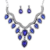 Yazilind Silver Plated Blue Crystal Teardrop Bridal Choker Necklace Dangle Earring Jewelry Set for Women