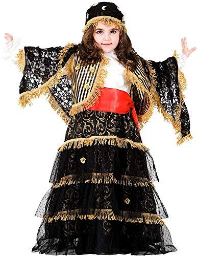 Costume di carnevale da zingara ricca vestito per ragazza bambina 7-10 anni travestimento veneziano halloween cosplay festa party 8921 taglia 7/s