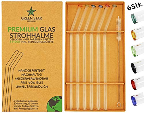 GREEN STAR Premium Glas Strohhalme 6 Stück + Reinigungsbürste - wiederverwendbar, Bunte Spitzen, gebogen, 23 cm, spülmaschinenfest, handgefertigt - Trinkhalm Set für Cocktail, Smoothie, Tee, usw.