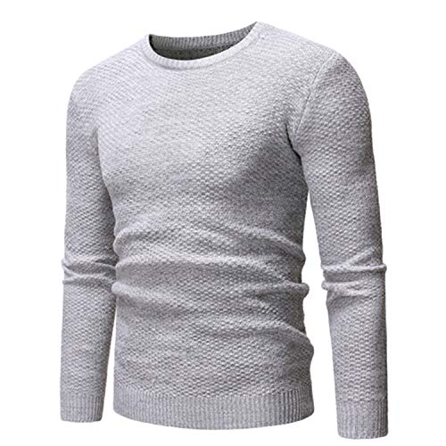 Sweater Men O-Nect Pullover Clothes Autumn Winter Comfortable Casual Sweater Solid Color Gray XXL