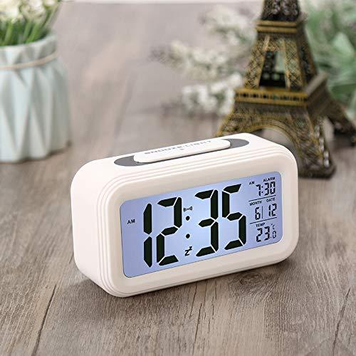 Reloj De Silencio De Temperatura Reloj Electrónico Sensor De Luz Despertador Despertador Reloj Inteligente Led Nuevo Blanco