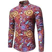 WULIFANG Impresión Floral Camiseta De Manga Larga De Moda Flores Camisa De Hombre Hombres Camiseta Slim Flores Casual Rojo XXXL