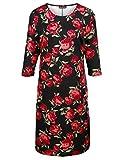 m. collection Damen Kleid mit Rosendruck-Muster Pflegeleicht 56