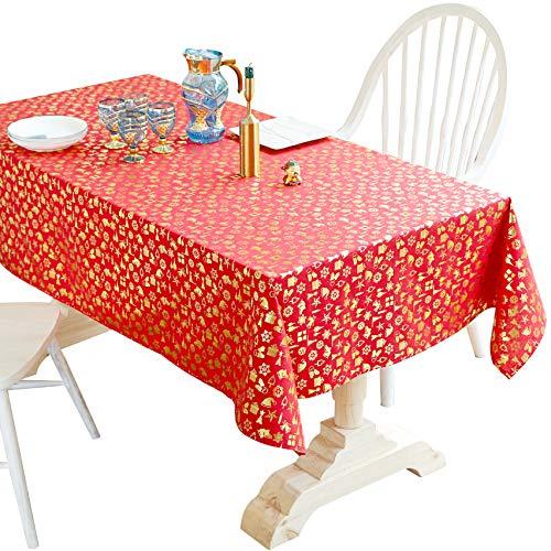 MODKOY Tischdecken Eckig, Tafeldecke, abwischbar Leinendecke Lotuseffekt Fleckschutz Pflegeleicht 100{79fe49ec49a08f8052dc1eaad860a9df824522135ec77d6ab7493fcb52abe10c} Baumwolle, Quaste, für Hochzeit Restaurant das ganze Jahr, 130x215cm Rot