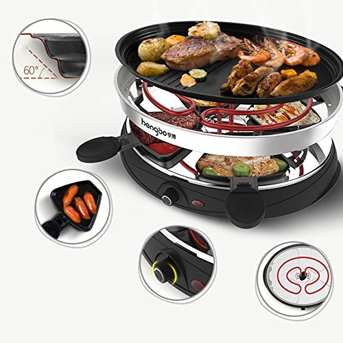 Electric Grill Teppanyaki Double Layers Non-Stick Table BBQ Plate with Adjustable Temperature for 4-5 People 2100W [4*Spatulas]