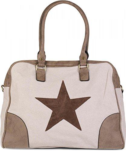 styleBREAKER Canvas Shopper Tasche mit aufgenähtem Stern, Kunstleder Applikationen, Schultertasche, Umhängetasche, Damen 02012083, Farbe:Beige