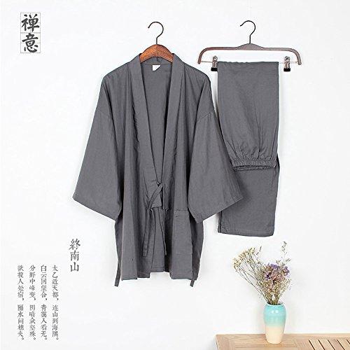 Männer Yukata Roben Kimono Robe Khan gedämpfte Kleidung Pyjamas Grau