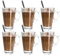 LIVIVO ® Set of 6 Tall Latte Glasses with Spoons