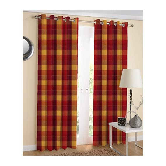 AIRWILL Cotton Handloom Weaved 4 x 5 ft Window Curtains, Red - Pack of 2 Pieces