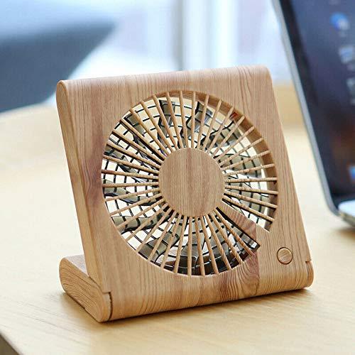 USB Ventilator -Mini Ventilator | Tischventilator Schreibtischventilator | Ventilator leise | Hölzerner Korn Tischventilatorenl | perfekt für den Schreibtisch (Beige) ()