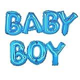 ballonfritz Luftballon Baby Boy Schriftzug in Blau - XXL Folienballon als Geschenk zur Geburt Eines Jungen, Baby-Shower-Party Deko oder Überraschung