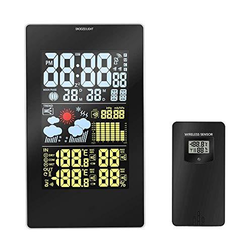 Uong Wetterstation Funk mit Außensensor, Funkwetterstation mit LCD Farbdisplay Digital Thermometer-Hygrometer für Innen und außen, Schwarz
