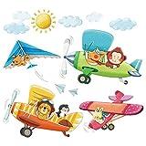 Decowall DA-1506B 3 Biplani con Animali Adesivi da Parete Decorazioni Parete Stickers Murali Soggiorno Asilo Nido Camera da Letto per Bambini