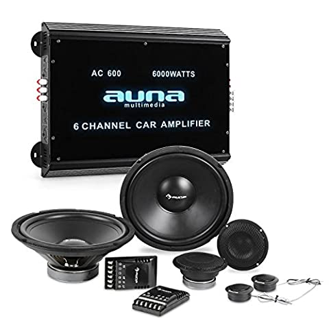auna CS-Comp-12 Car-HiFi-Set Lautsprecher-Set + 6-Kanal-Endstufe (6-Kanal-Verstärker 6000 W Leistungsspitze, 2 x 2000W Subwoofer, 2 x 2000W Mitteltöner, inkl. Kabelage) schwarz