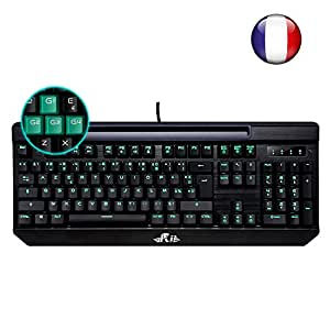 (Nouveauté)Rii K61c Clavier de Jeu Mécanique pour Pro Gaming, Rétro-éclairage de Macro Définition, Version Française-AZERTY