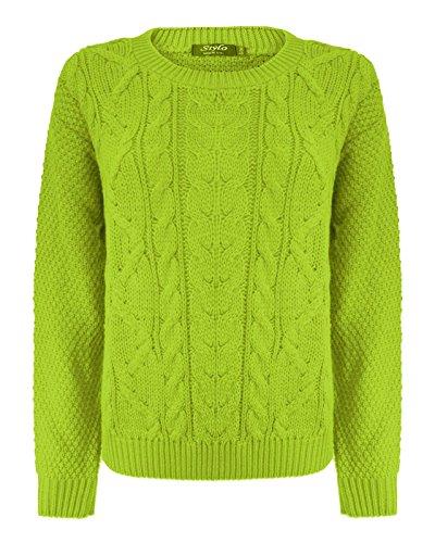 Top Vendor - Maglione a maniche lunghe, da donna, a trecce, largo, taglie: 40-44 Lime