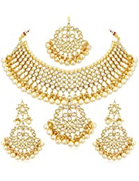 Sukkhi Gold Plated Kundan Pearl Fancy Choker Necklace Set Traditional Jewellery Set with Earrings for Women & Girls (N73544)
