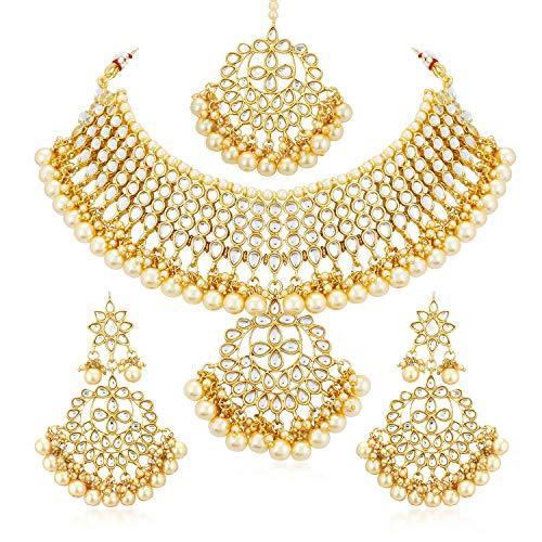 Sukkhi Gold Plated Kundan Pearl Fancy Choker Necklace Set Traditional Jewellery Set with Earrings for Women & Girls (N73544)