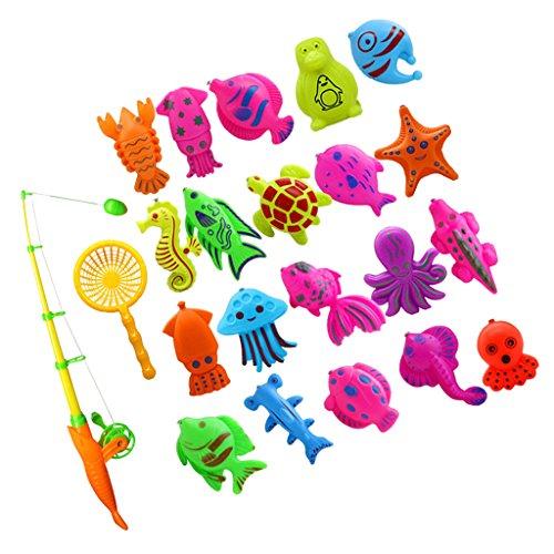 MagiDeal Badespaß Spiel Fisch Modell Mini Angeln Spielzeug Badespielzeug für Kinder Baby - 22 Stück Kinder-angeln