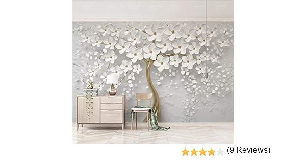 Papier Peint 3D Mur De Fond Tv Belle Fleur Blanche En Relief Le Salon Chambre Moderne Papier Peint Intiss/é D/écoration Murale