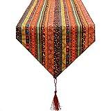 Camino de mesa africano en colores tierras y dorados extra largo terciopelo elegante turquesa y chocoloate con borlas de 33 cm x 2 m de OPEN BUY