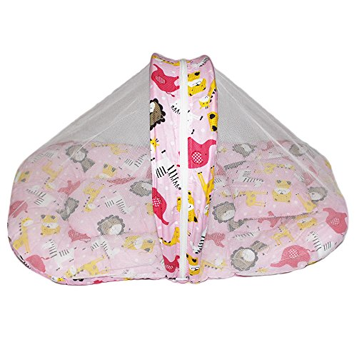 Babilav Baby Bedding Set/Toddler Mattress With Mosquito Net (0-12 Months, Pink)