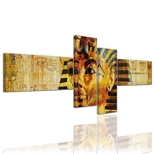 Kunstdruck - Pharao - Ägypten - Bild auf Leinwand - 200x75 cm 4 teilig - Leinwandbilder - Bilder als Leinwanddruck - Städte & Kulturen - Afrika - altes Ägypten - ()