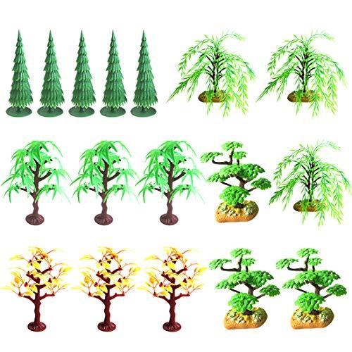 Haunen Modell Bäume Set, Gemischtes Modellbau Bäume 17 Stück Landschaft Modell Baum für Modellbahn Eisenbahn Architektur Diorama DIY Landschaft - Ahorn Kiefer Schreibtisch