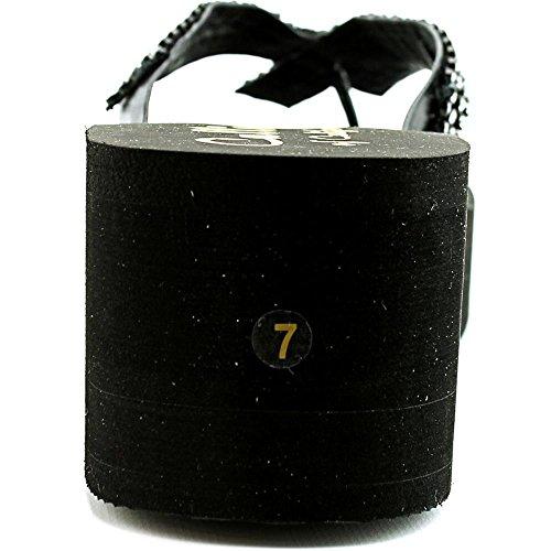 Callisto Belisima Offener Spitze Leder Keilabsätze Black
