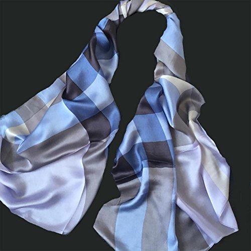 YUYU Signora sottile alta qualità Blu Plaid seta sciarpa moda sciarpa cinese stile leggero , picture color