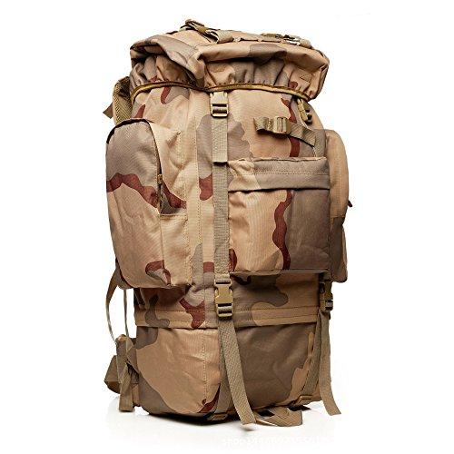 65l Tactical Military Assault Pack Rucksack Gear Großer Sport Outdoor Rucksack Molle Tasche für Jagd Camping Trekking Reise Sand Camo