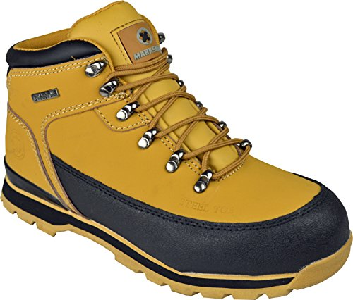 MENS SAFETY TRAINERS SHOES BOOTS WORK STEEL TOE CAP HIKER ANKLE HONEY...
