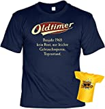 Lustiges T-Shirt zum 50.Geburtstag mit Mini -T-Shirt - Geschenk-Idee Geschenkset 50 Mann / Frau : Baujahr 1968 - 50 Jahre -- 50 Jahre Sprüche Tshirt Fun T-Shirt Gr: XL Farbe: navy-blau