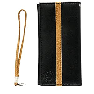 Jo Jo A5 S Series Leather Wallet Universal Pouch Cover Case For Spice Xlife 515Q Black Tan