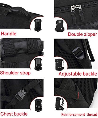 Reiserucksäcke, Fresion Wasserabweisend Tasche Multifunktionaler Rucksack Trekkingrucksäcke für Herren Damen Wandern Reisen (Oxford Schwarz) Blue