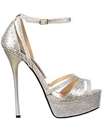 Brillante Glitter Plata Tiras Peep Toe De Tacón - Cruz Sobre Dedo Del Pie - Plata Brillo La Bomba De Onlineshoe Las Mujeres