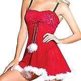 Janly Frauen Weihnachten Kleid Pyjamas Dessous Sexy Sleeveless Unterwäsche Haar Ball Weihnachten Hosenträger verbunden Dessous (L, Rot)