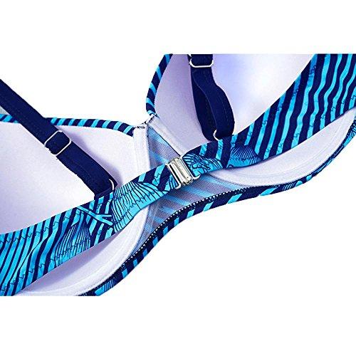 WANGXN Womens Split Badeanzug Bikini Floral Print Große Größe Push High treasures blue
