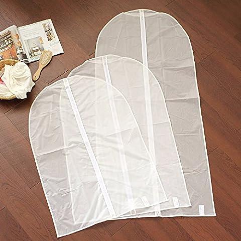 K&C White Garment Dust Cover Dustproof Clothes Hang Thicken Dress Dustproof Storage Zipper Bags 1.99*2.95 Inch Set of 3