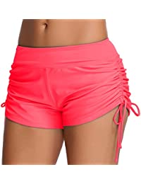 OLIPHEE Mujer Bikini Cinturón sólido Fondo Pantalones Cortos para Niños Panty de Natación