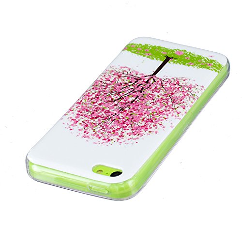 iPhone 5C Silicone Case,iPhone 5C Gel Case,Feeltech [Free 2 in 1 Black Stylus Pen] Luminous Effect Noctilucent Green Glow in the Dark Matte White Ultra Slim Soft Rubber Shock Absorber Flexible Bumper  Albero di ciliegio rosa