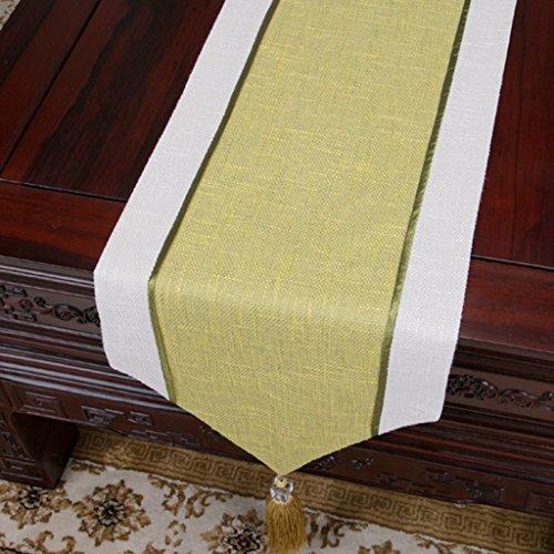 Chemin de table QiangZi Chinois Brun Napperon Coton Et Lin Bilayer Noces Salon Maison Décoration Table Tissu, 33 * 230 CM (Couleur : Le jaune, taille : 33*300cm)