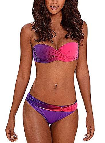 UMIPUBO Maillot de Bain Femme Deux Pièce Push Up Rayures Multicolore Tie-Dyed Halterneck Triangle Plage Maillot sans Bretelles Bandeau Swimwear,Pourpre,M